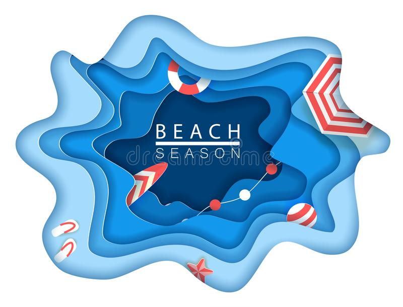 Tropical beach in paper art style. Vector top view paper cut illustration. Summer holiday concept poster template. Craft stock illustration