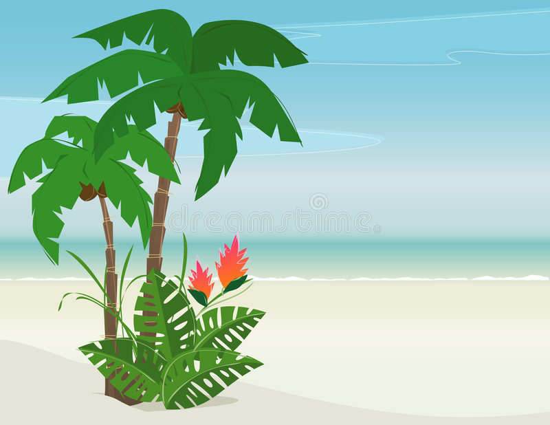 Download Tropical Beach Paradise stock vector. Illustration of philodendron - 5791808