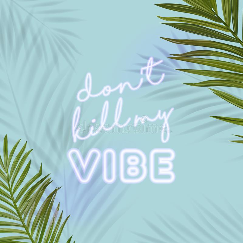 Tropical Beach Party Banner with Neon Lettering. Hot Summer Night Club Signboard Poster with Palm Leaves. Disco Poster stock illustration