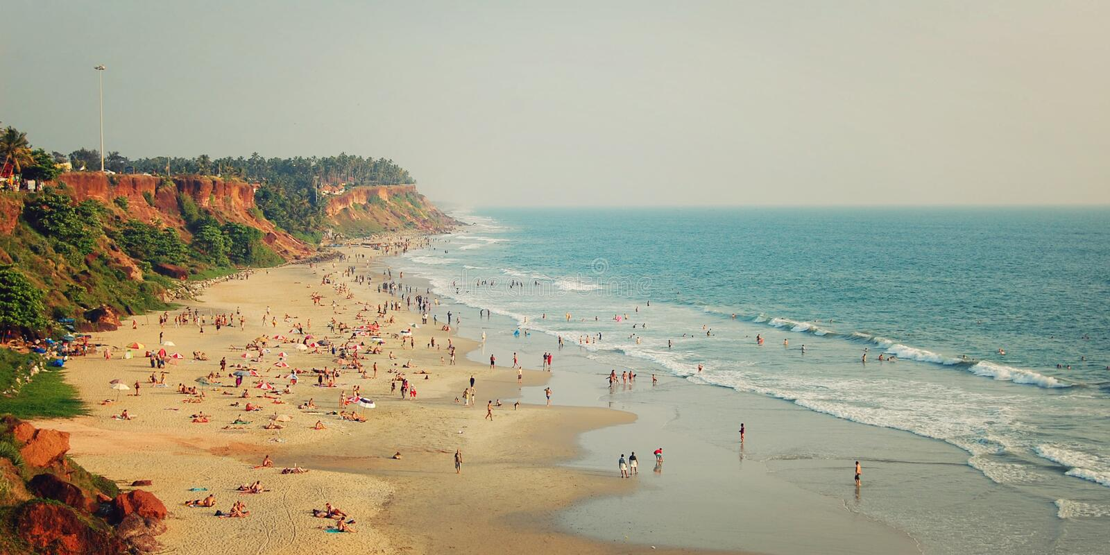 Tropical beach and peaceful ocean - vintage filter. Varkala, India. royalty free stock photography