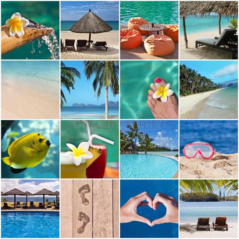 Tropical beach and resort collage. Tropical beach and resort concept collage stock photo