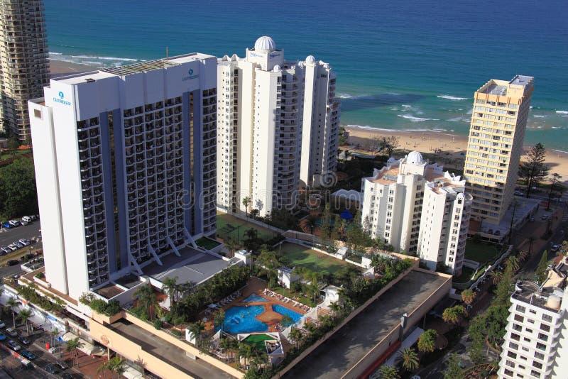 Tropical beach resort by the sea aerial