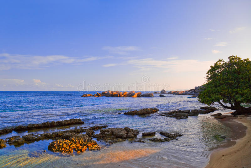 Tropical beach in Seychelles at sunset stock photo