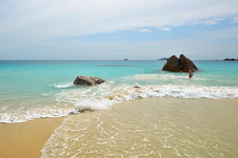Tropical beach on Seychelles royalty free stock image