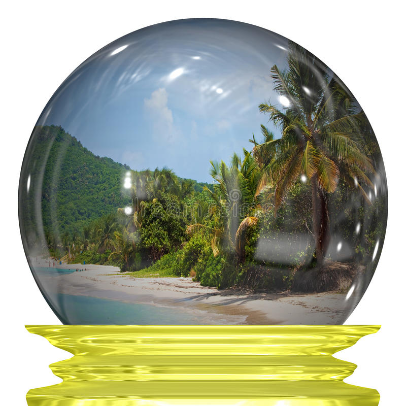 Tropical Beach Snow Globe. A snow globe with an image of a tropical caribbean beach in the middle royalty free stock images