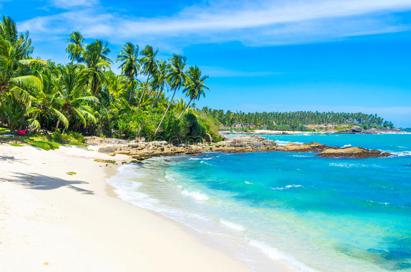 Tropical beach in Sri Lanka stock photography