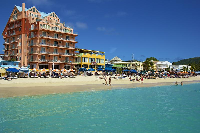 Tropical beach in St Maarten, Caribbean royalty free stock photography