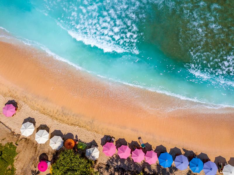 Tropical Beach and Sun Umbrellas. Aerial View royalty free stock image