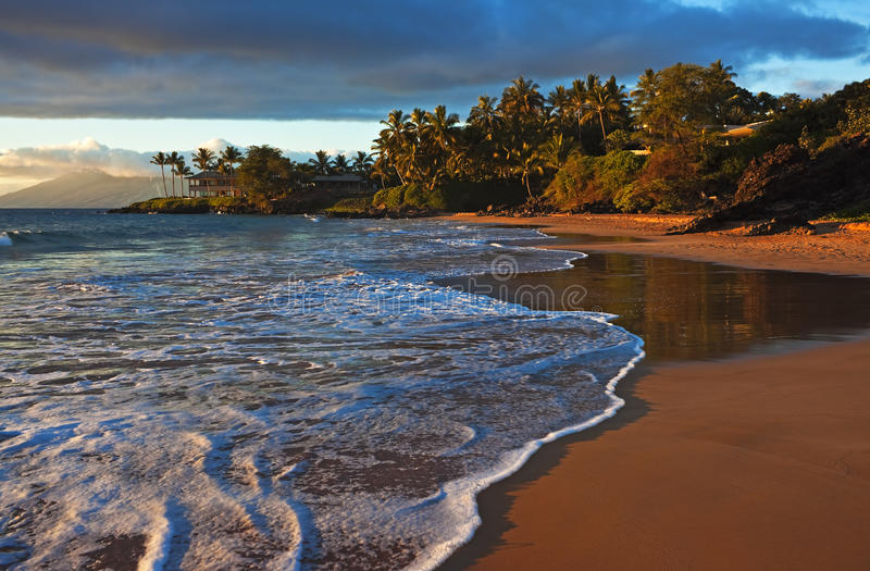 Tropical beach sunburst, Maui stock images