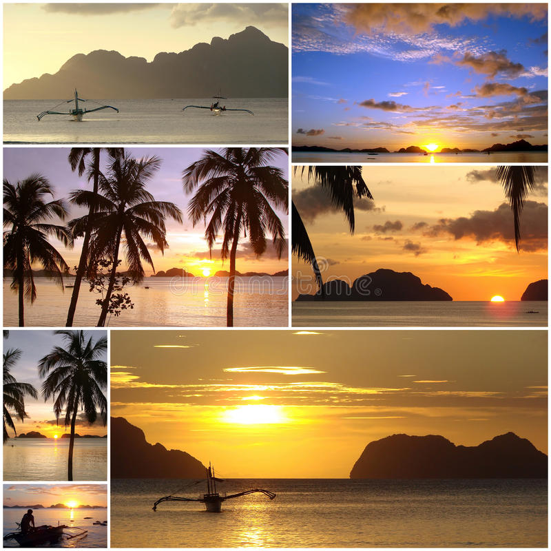 Beautiful Sunny Day At Tropical Beach Royalty Free Stock: Tropical Sunset Beach Collage Stock Photo