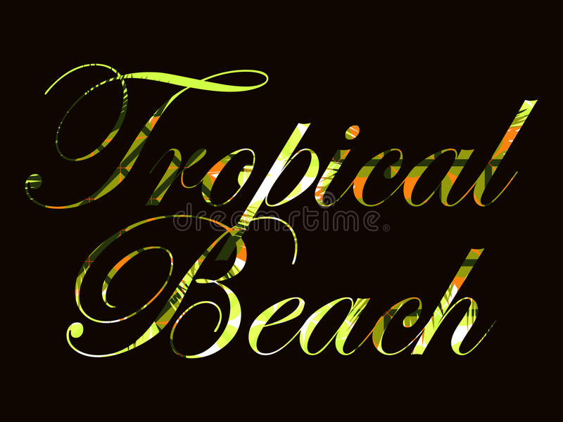 Tropical beach. Text with curls of palm leaves. Beautiful writing on a black background. Vector. Illustration vector illustration