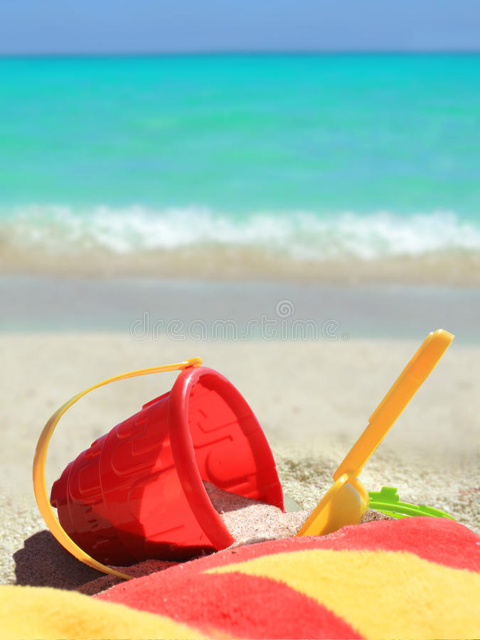 Tropical Beach Toys And Ocean Stock Photo