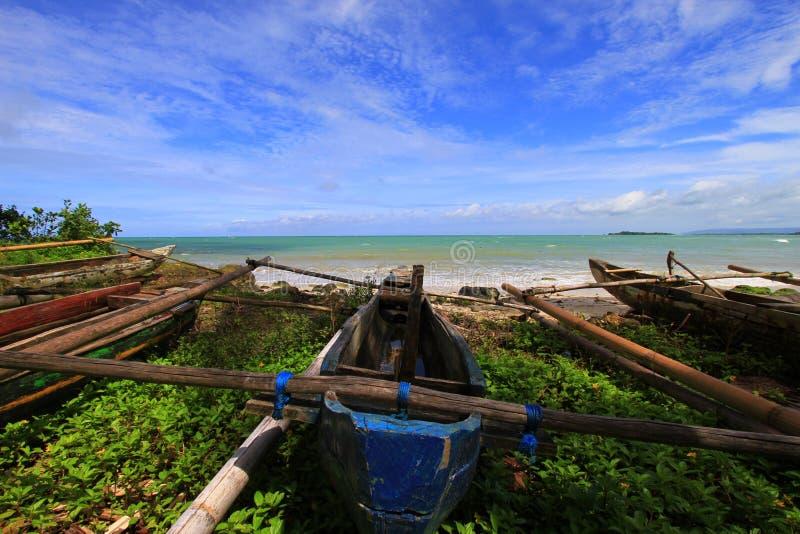 Tropical beach at Ujung Genteng Indonesia stock photos