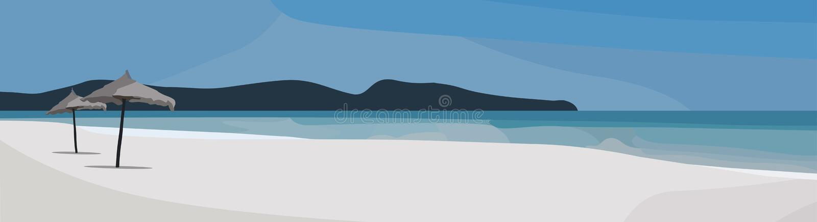 Tropical beach vector background. Sea view illustration. Summer time panorama royalty free illustration