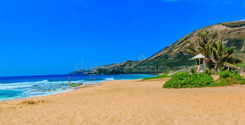 Download Tropical Beach With A Volcano Crater In Oahu Hawaii Stock Image
