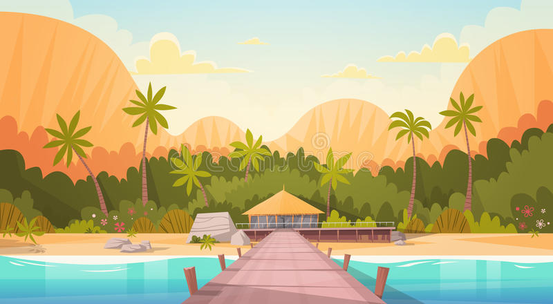 Tropical Beach With Water Bungalow House Landscape, Summer Travel Vacation Concept. Flat Vector Illustration stock illustration