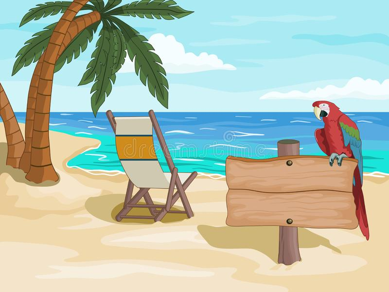 Tropical beach with wooden signpost stock illustration