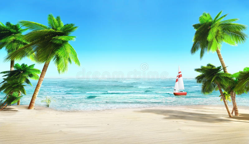Tropical beach and yacht. stock illustration