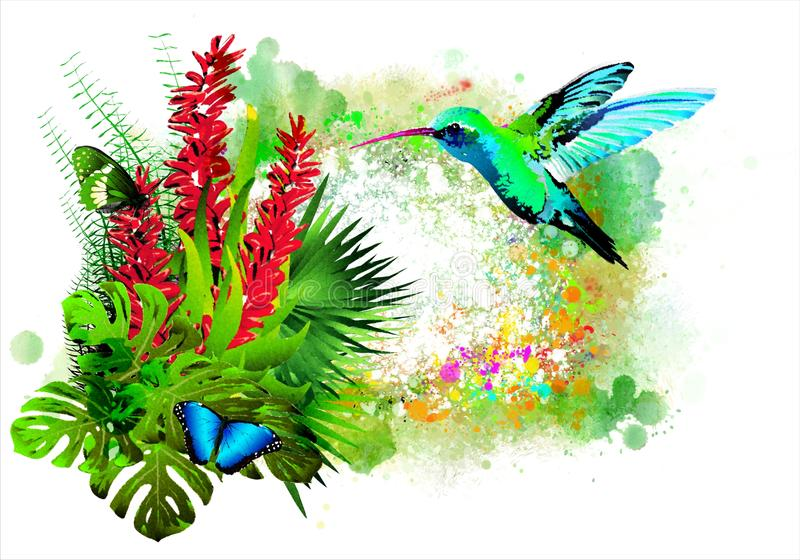 Tropical bird with flowers. vector illustration