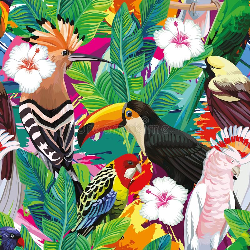 Free Tropical Bird Leaves Seamless Background Stock Photos - 86005243