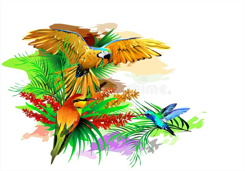 Tropical birds on an abstract background. Vector image of exotic birds. Additional format: made in CorelDRAW X13. Color settings: Tools/color management/