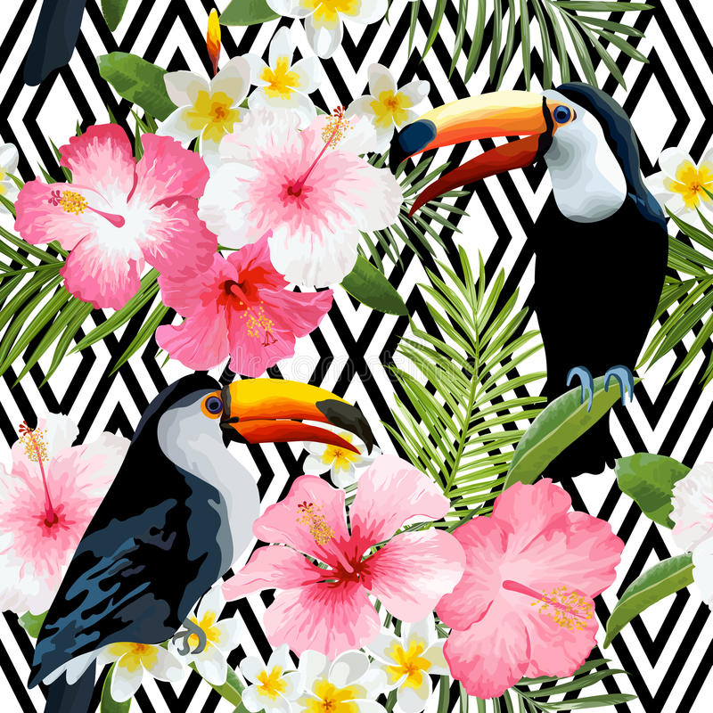 Vintage Style Tropical Bird And Flowers Background: Tropical Birds And Flowers. Geometric Background Stock