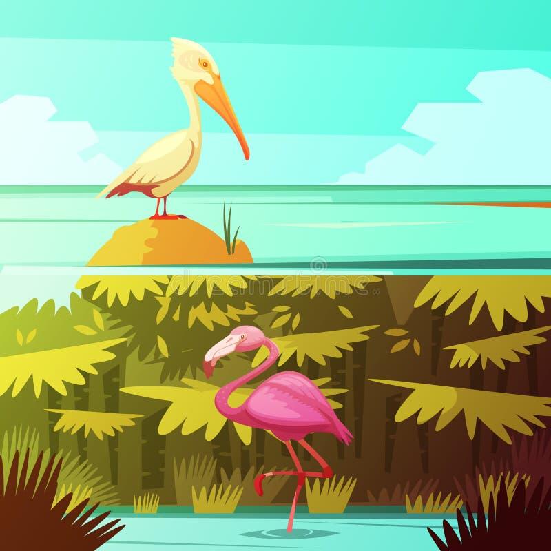 Tropical Birds Horizantal Retro Banners Set vector illustration