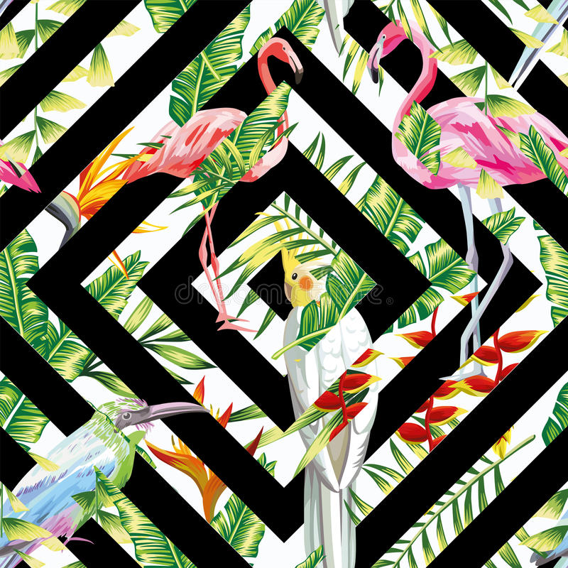 Tropical birds leaves seamless geometric background royalty free illustration