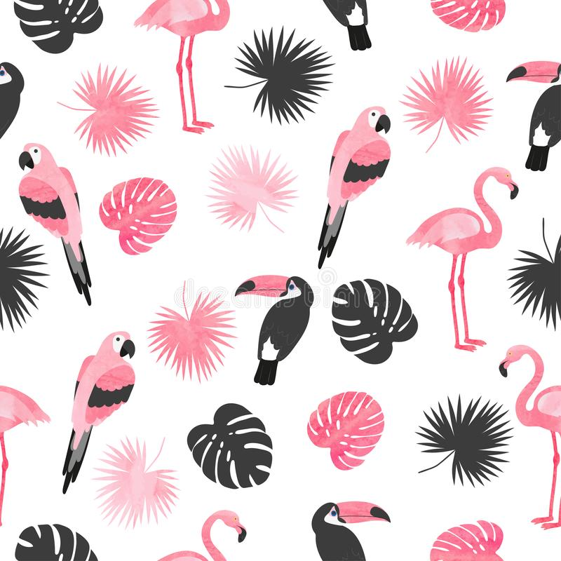 Tropical birds pattern in pink and black colors. Vector summer background stock illustration