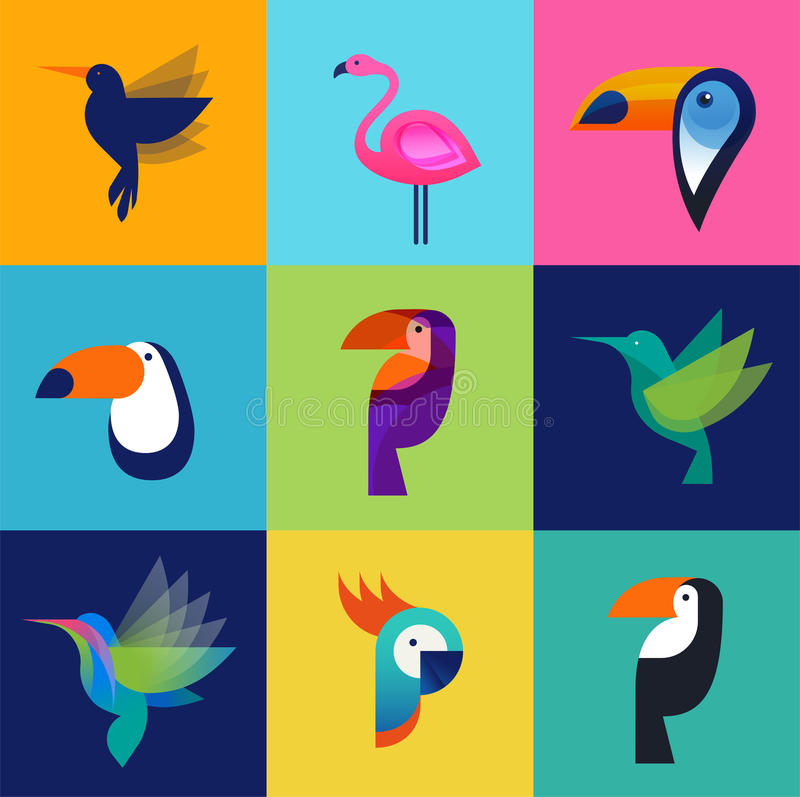 Tropical birds - set of vector icons vector illustration