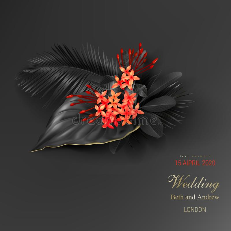 Free Tropical Black Leaves And Exotic Red Flower Stock Photography - 146985552