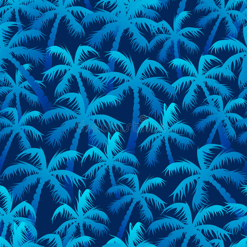 Tropical blue palm forest in a seamless pattern.  vector illustration