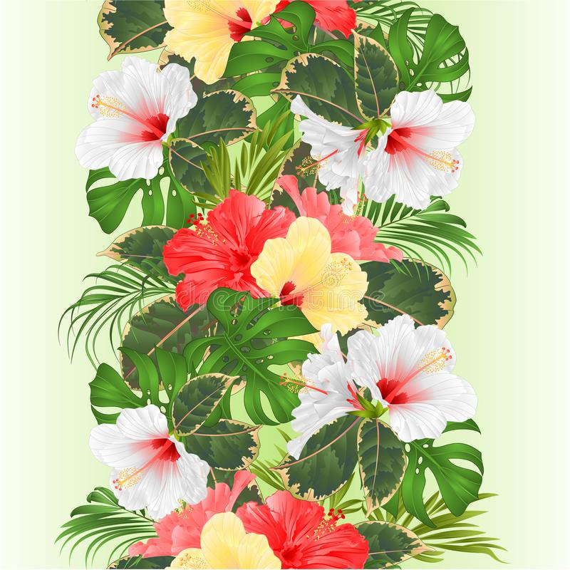 Tropical border seamless background with tropical flowers Hawaiian style floral arrangement, with beautiful white pink and yellow vector illustration