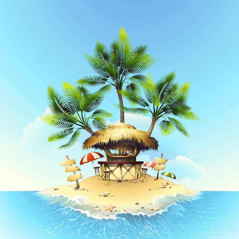 Download Tropical Bungalow Bar Stock Vector Illustration Of Beach