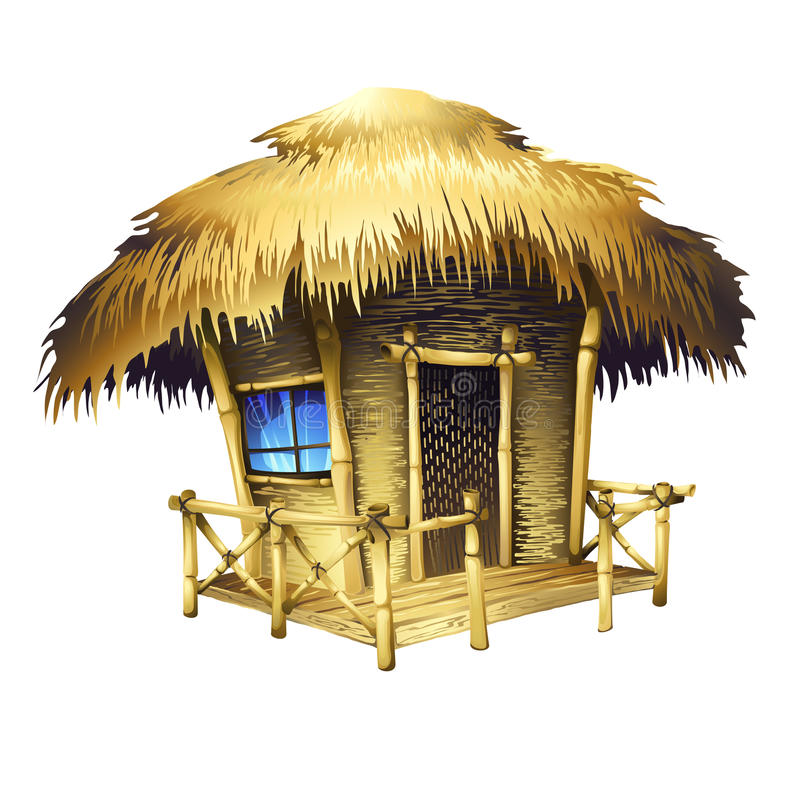 Tropical bungalow. Isolated vector drawing royalty free illustration
