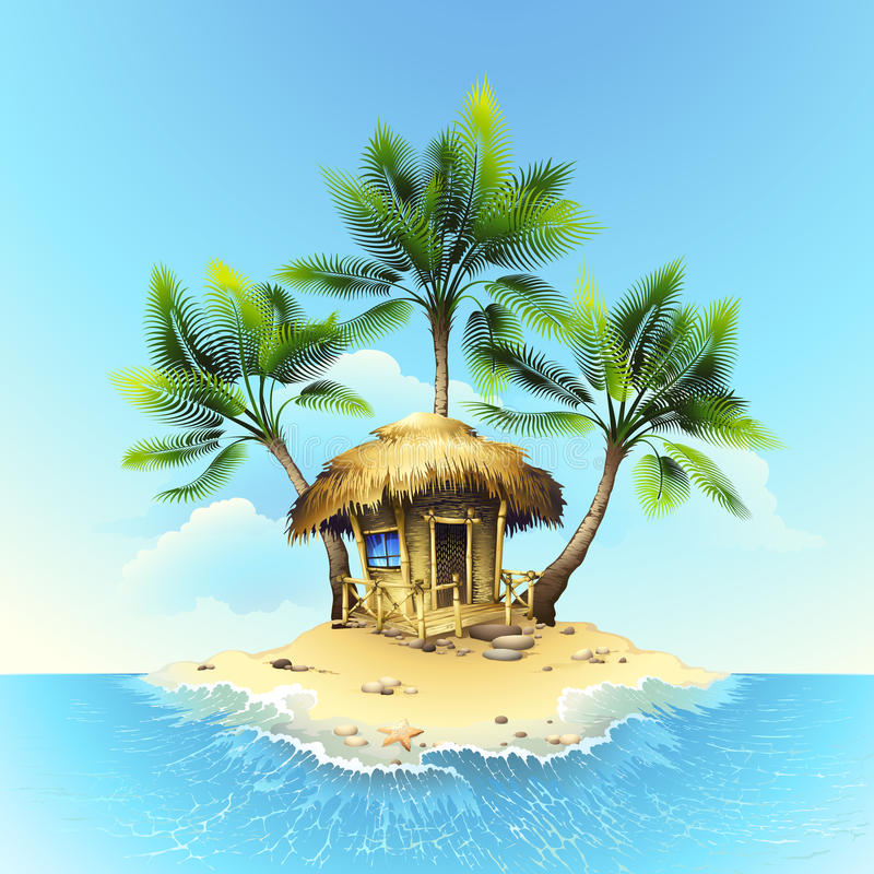 Tropical bungalow on tropical island. Vector drawing royalty free illustration