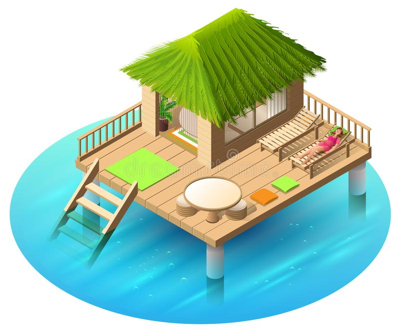 Tropical bungalow on water and woman lies in deckchair. Isometric vector 3d cartoon illustration vector illustration