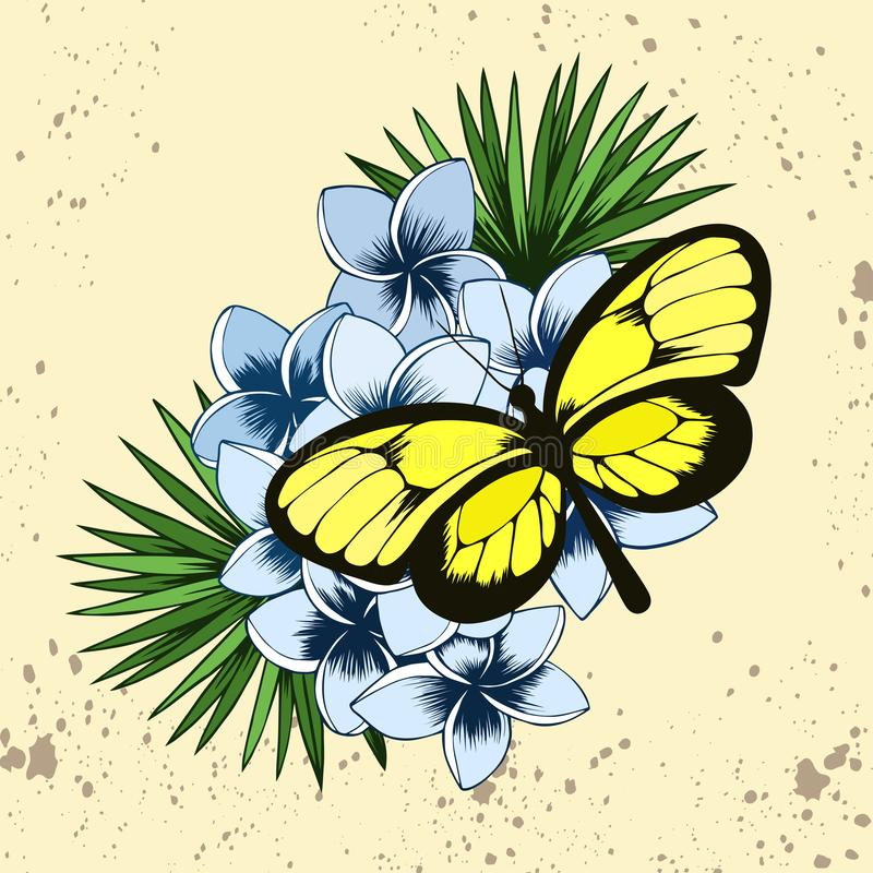 Tropical butterfly on a bunch of plumeria flowers. Yellow tropical butterfly on a bunch of plumeria flowers and palm leaves. Hand drawn vector floral vector illustration