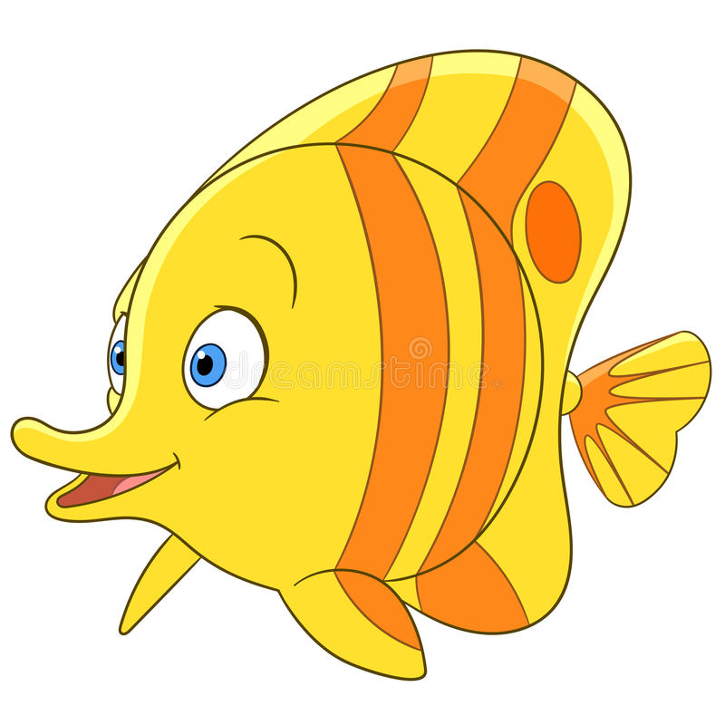 Tropical cartoon butterfly fish stock image