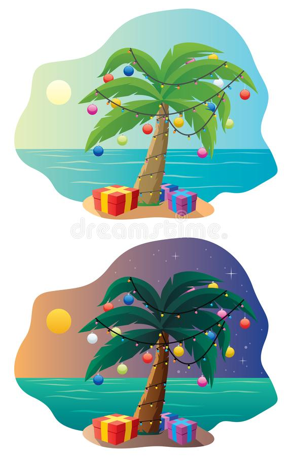 Tropical Christmas Tree. Decorated exotic New Year palm flat vector illustrations set. Festive presents and gift boxes on sand beach isolated on white stock illustration