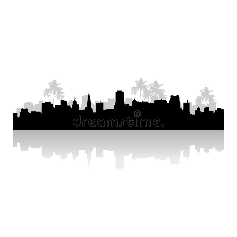 Download Tropical Cityscape Silhouette Stock Vector - Image: 5510491