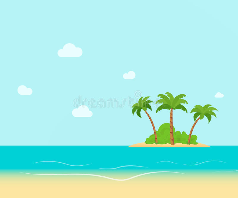 Tropical coast, beach with hang palm trees. View of the Sea, the island green and the sky with large clouds. Flat vector. Illustration royalty free illustration