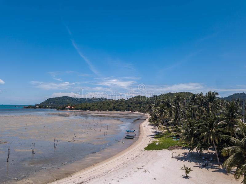 Tropical Coast on Samui island in Thailand, Aerial View royalty free stock photography
