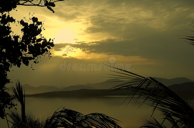 Download Tropical Coastline At Sunset Stock Image - Image: 1265395