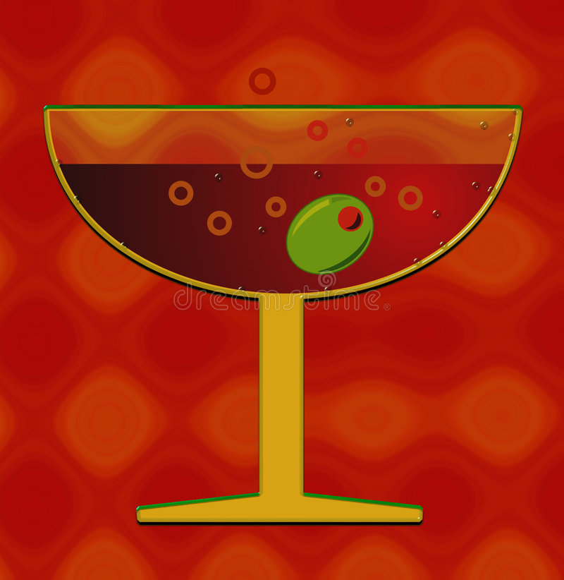 Tropical cocktail. Illustration of Martini glass with olive vector illustration