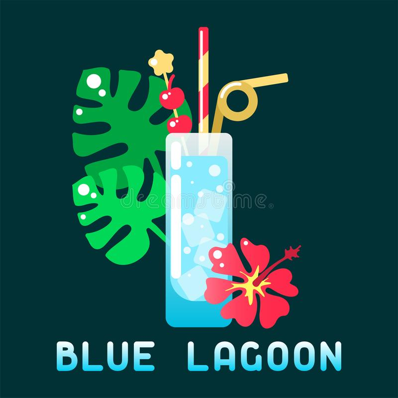 Tropical cocktail blue lagoon with decorations and name. Flat style vector illustration. Suitable for advertising, applications, menu design or web royalty free illustration
