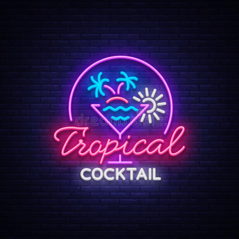 Tropical Cocktail neon sign. Cocktail Logo, Neon Style, Light Banner, Night Bright Neon Advertising for Cocktail Bar. Party, Pub. Alcohol. Vector illustration royalty free illustration