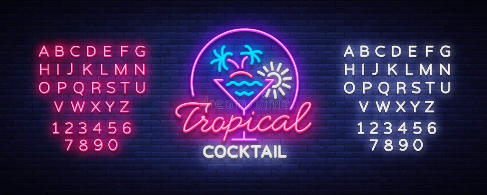 Tropical Cocktail neon sign. Cocktail Logo, Neon Style, Light Banner, Night Bright Neon Advertising for Cocktail Bar. Party, Pub. Alcohol. Vector illustration stock illustration