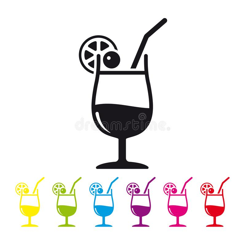 Tropical Cocktail vector icon. Tropical cocktail with straw, cherry and lemon slice vector icon. Cold drink symbol in black and six color variations stock illustration