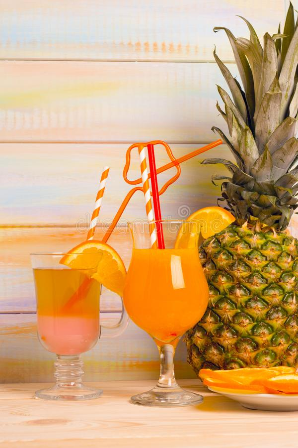 Tropical cocktails with fresh fruit royalty free stock photo